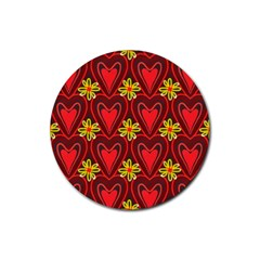 Digitally Created Seamless Love Heart Pattern Rubber Round Coaster (4 Pack)