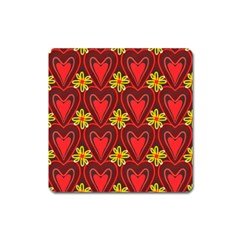 Digitally Created Seamless Love Heart Pattern Square Magnet