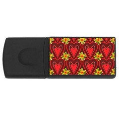 Digitally Created Seamless Love Heart Pattern USB Flash Drive Rectangular (2 GB)