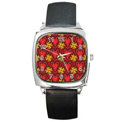 Digitally Created Seamless Love Heart Pattern Square Metal Watch