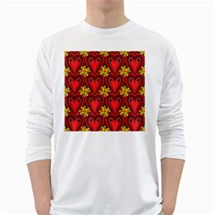 Digitally Created Seamless Love Heart Pattern White Long Sleeve T-Shirts