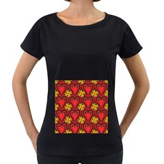 Digitally Created Seamless Love Heart Pattern Women s Loose-Fit T-Shirt (Black)
