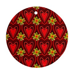 Digitally Created Seamless Love Heart Pattern Round Ornament (two Sides)