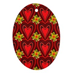Digitally Created Seamless Love Heart Pattern Oval Ornament (Two Sides)