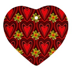 Digitally Created Seamless Love Heart Pattern Heart Ornament (two Sides)