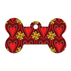 Digitally Created Seamless Love Heart Pattern Dog Tag Bone (two Sides)