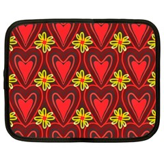 Digitally Created Seamless Love Heart Pattern Netbook Case (Large)