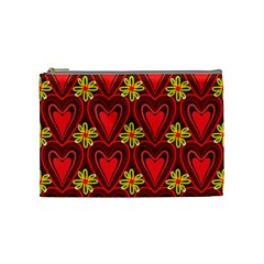 Digitally Created Seamless Love Heart Pattern Cosmetic Bag (Medium)