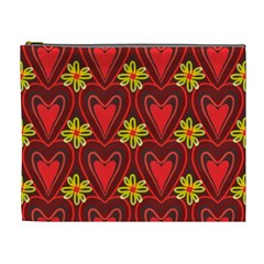 Digitally Created Seamless Love Heart Pattern Cosmetic Bag (XL)