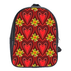 Digitally Created Seamless Love Heart Pattern School Bags(large)