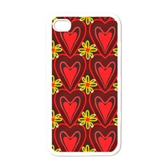 Digitally Created Seamless Love Heart Pattern Apple Iphone 4 Case (white)