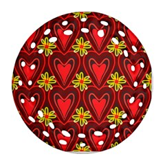 Digitally Created Seamless Love Heart Pattern Round Filigree Ornament (Two Sides)