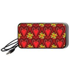 Digitally Created Seamless Love Heart Pattern Portable Speaker (Black)