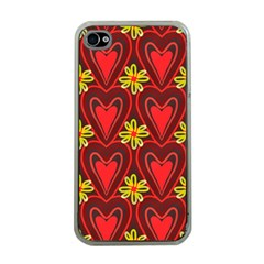 Digitally Created Seamless Love Heart Pattern Apple iPhone 4 Case (Clear)