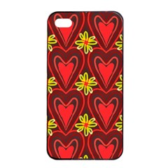 Digitally Created Seamless Love Heart Pattern Apple Iphone 4/4s Seamless Case (black)