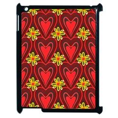 Digitally Created Seamless Love Heart Pattern Apple iPad 2 Case (Black)