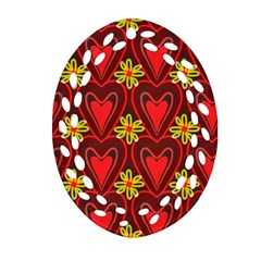 Digitally Created Seamless Love Heart Pattern Oval Filigree Ornament (Two Sides)