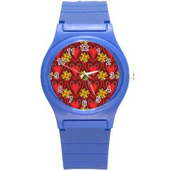 Digitally Created Seamless Love Heart Pattern Round Plastic Sport Watch (s)