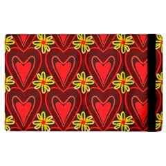 Digitally Created Seamless Love Heart Pattern Apple iPad 2 Flip Case