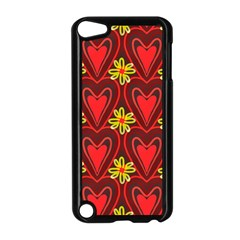 Digitally Created Seamless Love Heart Pattern Apple iPod Touch 5 Case (Black)