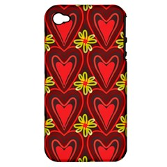 Digitally Created Seamless Love Heart Pattern Apple iPhone 4/4S Hardshell Case (PC+Silicone)