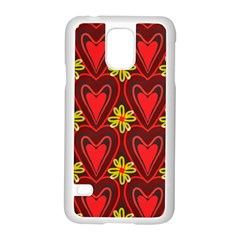Digitally Created Seamless Love Heart Pattern Samsung Galaxy S5 Case (White)