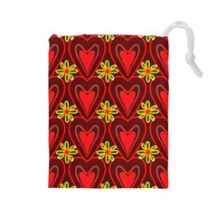 Digitally Created Seamless Love Heart Pattern Drawstring Pouches (large)