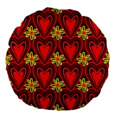 Digitally Created Seamless Love Heart Pattern Large 18  Premium Flano Round Cushions