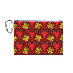 Digitally Created Seamless Love Heart Pattern Canvas Cosmetic Bag (M)