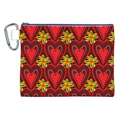 Digitally Created Seamless Love Heart Pattern Canvas Cosmetic Bag (XXL)