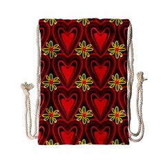 Digitally Created Seamless Love Heart Pattern Drawstring Bag (Small)