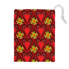 Digitally Created Seamless Love Heart Pattern Drawstring Pouches (Extra Large)