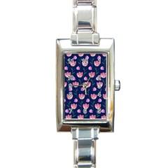 Watercolour Flower Pattern Rectangle Italian Charm Watch
