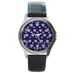 Watercolour Flower Pattern Round Metal Watch