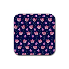 Watercolour Flower Pattern Rubber Square Coaster (4 Pack)