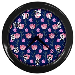 Watercolour Flower Pattern Wall Clocks (Black)