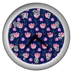 Watercolour Flower Pattern Wall Clocks (Silver)