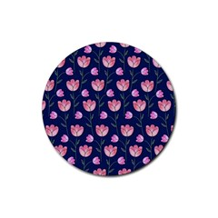 Watercolour Flower Pattern Rubber Coaster (round)