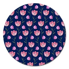 Watercolour Flower Pattern Magnet 5  (round)