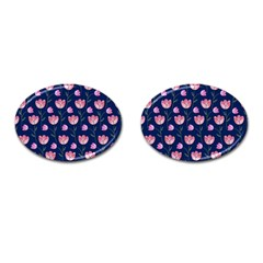 Watercolour Flower Pattern Cufflinks (oval)