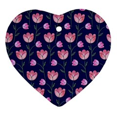 Watercolour Flower Pattern Heart Ornament (two Sides)