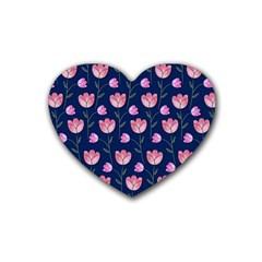 Watercolour Flower Pattern Rubber Coaster (heart)