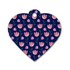 Watercolour Flower Pattern Dog Tag Heart (two Sides)
