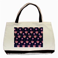 Watercolour Flower Pattern Basic Tote Bag (two Sides)