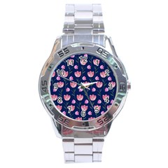 Watercolour Flower Pattern Stainless Steel Analogue Watch