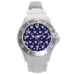 Watercolour Flower Pattern Round Plastic Sport Watch (L)