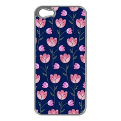 Watercolour Flower Pattern Apple iPhone 5 Case (Silver)
