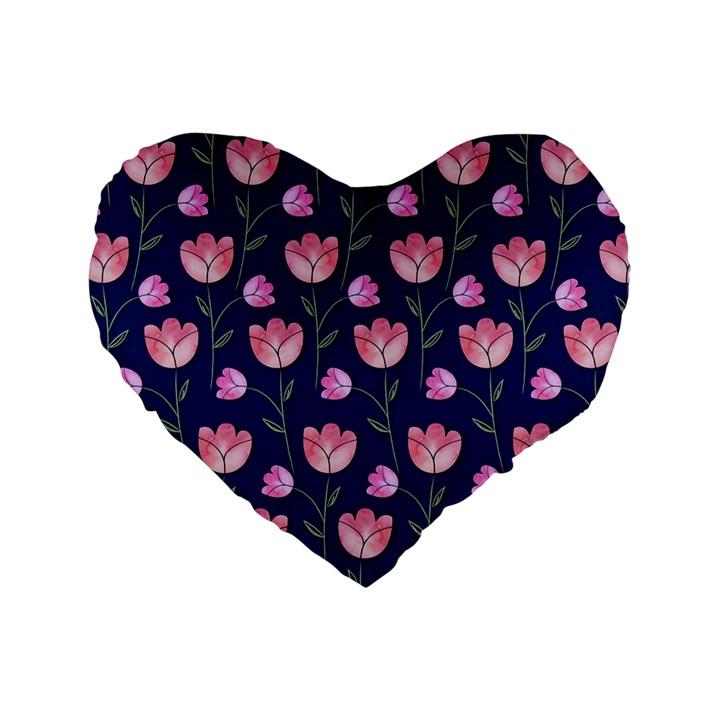 Watercolour Flower Pattern Standard 16  Premium Heart Shape Cushions