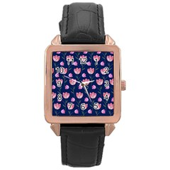 Watercolour Flower Pattern Rose Gold Leather Watch