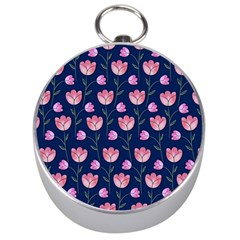 Watercolour Flower Pattern Silver Compasses